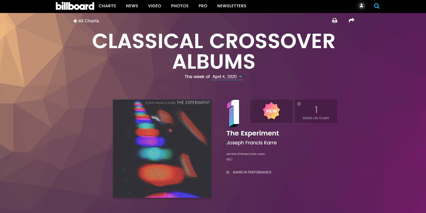 Joseph Francis Karre - The Experiment #1 debut on Billboard Classicial Crossover Albums chart